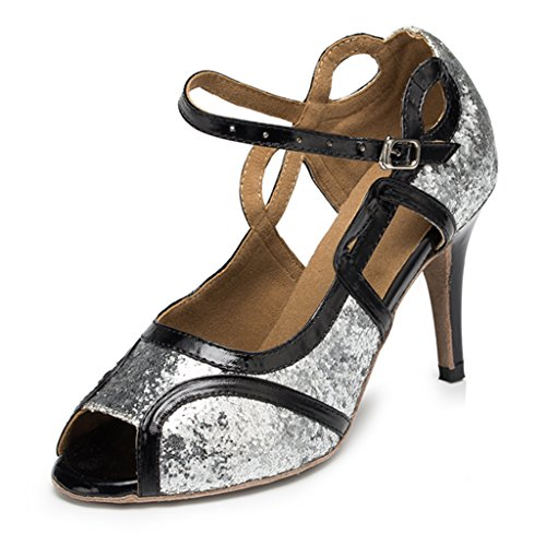 Crc Womens Glitter Peep Toe Mary Jane Scarpe Da Ballo In Raso Argento