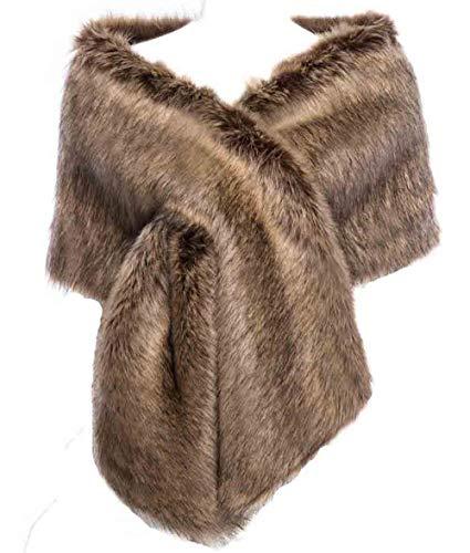 - Changuan Women Long Faux Fox Fur Shawl Bridal Stole Cover up Winter Soft Bolero Scarf for Evening/Party/Show Raccoon
