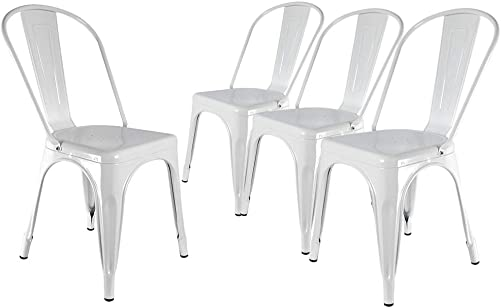 H JINHUI White Metal Dining Chairs Set of 4 for Indoor and Outdoor Use, Modern Industrial Chic Stackable Side Chairs for Cafe Kitchen Patio Bistro
