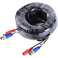 SANNCE Special Design 45M / 150 Feet BNC Video Power Cable For HD CCTV Camera DVR Security System (Black)