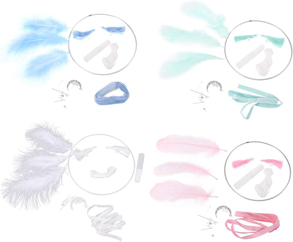 Pink//Blue//Purple//White SUPVOX 4Sets Dream Catcher Kits Dreamcatcher Making Kit Cord Macrame Rings Wood Beads Feather for DIY Craft