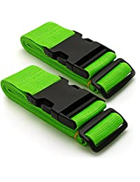 CampTeck U6746 Long Travel Luggage Straps Adjustable Suitcase Safety Belts– Green, 1 Pair