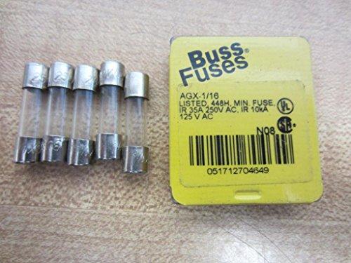 Bussmann AGX-1/16 AGX116 AGX 1/16 Fuse 1/16A 250V (Pack of 5) by Bussmann