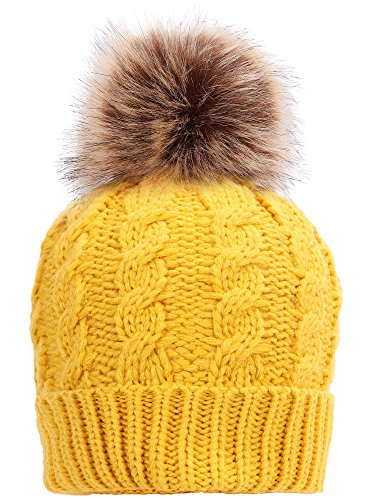 simplicity-men-womens-winter-hand-knit-faux-fur-pompoms-beanie-hat-ginger