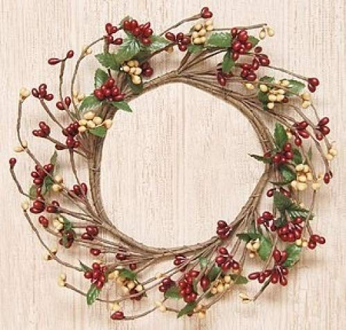 Burgundy Pip Berry Wreath - Burgundy & Old Gold Pip Berry Ring Mini Wreath Country Primitive Floral Décor