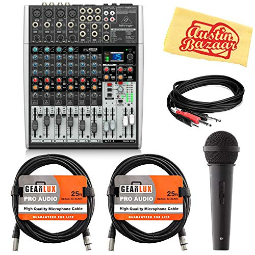 - Behringer Xenyx X1204USB Premium 12-Input 2/2-Bus Mixer Bundle with Microphone, XLR Cables, Stereo Breakout Cable, and Austin Bazaar Polishing Cloth