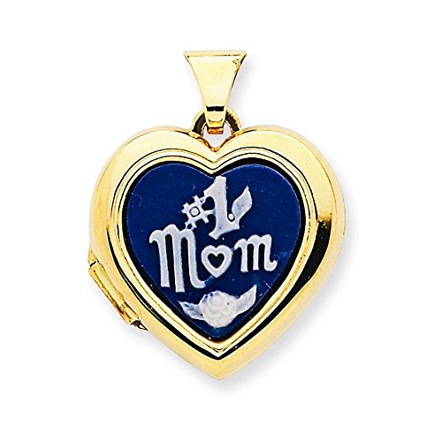 14k Polished Heart-Shaped #1Mom Agate Cameo Inlay Locket