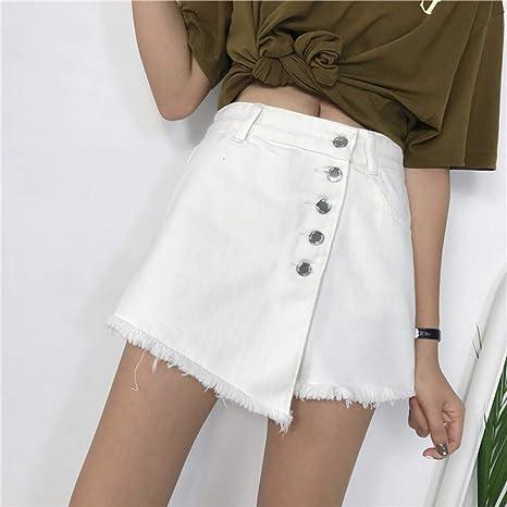 LMSHMDK Pantalones Cortos Mujer Pantalones Vaqueros Blancos De ...