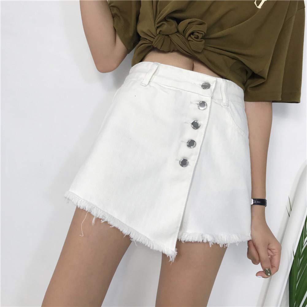 LMSHMDK Pantalones Cortos Mujer Pantalones Vaqueros Blancos ...