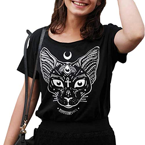 Cat Head Moon Print T-Shirt Witch Symbol T-Shirt Gothic Tops Short Sleeve for $<!--$17.34-->