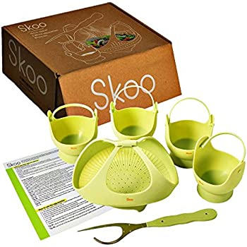 Skoo Silicone Vegetable Steamer Basket, Egg Poachers and Fork Set, for Healthy and Tasty Cooking. Instant Pot Accessories. Natural Green.