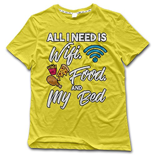 Aiguan All I Need is WiFi Food and My Bed Mens Lightweight Short Sleeve T-Shirt Casual Top Tee Yellow S