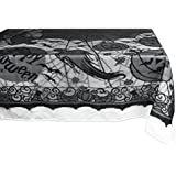 """DII 54x72"""" Rectangular Polyester Lace Tablecloth, Black Happy Halloween - Perfect for Halloween, Dinner Parties and Scary Movie Nights"""