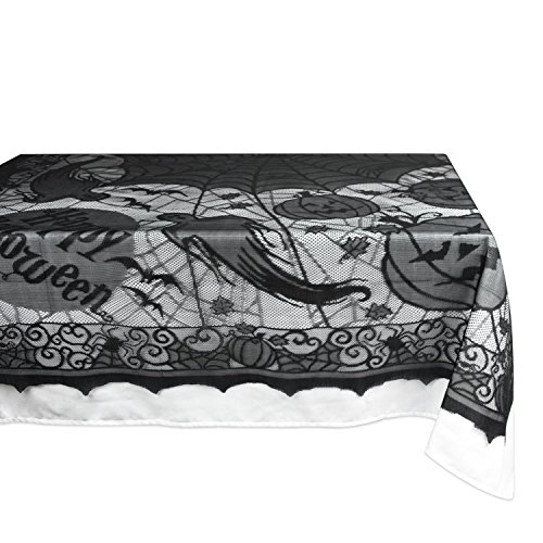 DII 54x72 Rectangular Polyester Lace Tablecloth, Black Happy Halloween - Perfect for Halloween, Dinner Parties and Scary Movie (Happy Halloween Clown)
