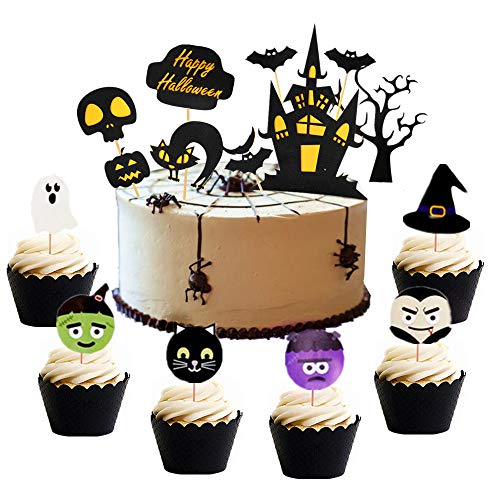 Edible Cake Decorations For Halloween (Set of 38 Halloween Cake Topper Haunted House Cake Topper Halloween Cake Decoration Wizard Cupcake Topper Ghost Cake Decoration Pumpkin Cupcake Decoration for Wizard Party Ghost Party Spider)