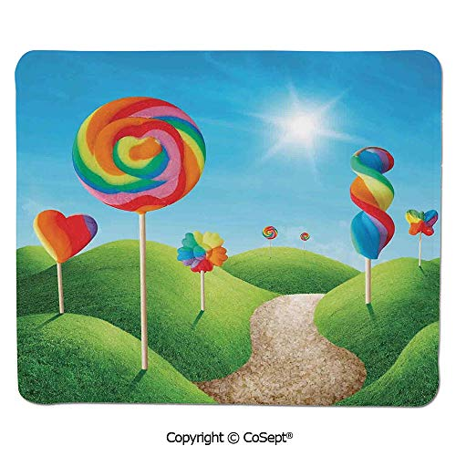 "Quality Selection Comfortable Mouse Pad,Fantasy Candy Land with Delicious Lollipops and Sweets Sun Cheerful Fun Print Decorative,Water-Resistant,Non-Slip Base,Ideal for Gaming (15.74"" x 23.62""),Gr"