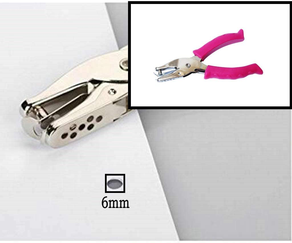 Size 6mm Perfect for Use at Home Circle Punch Punch Up to 10 Sheets Single Hole Punch Office and School Clamp Punch 80g Fuchsia