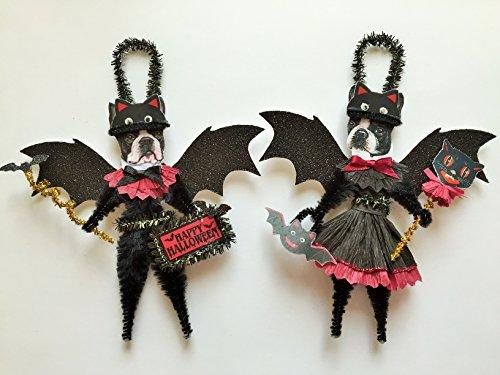 - Boston Terrier BAT Halloween ornaments DOG ornaments vintage style chenille ORNAMENTS set of 2