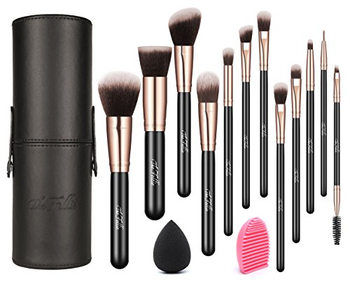 TheFellie Makeup Brushes, Professional Makeup Brush Set with Brush Holder for Blush Powder Foundation Concealer Eyeshadow Cosmetics, Rose Gold ( 12+2pcs, Blender Sponge & Brush Egg Included ) (Makeup Forever Brush Set)