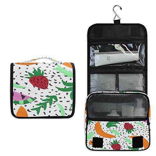 Watermelon Strawberry Banana Leaf Summer Toiletry Bag Multifunction Cosmetic Bag Portable Makeup Pouch Waterproof Travel Hanging Organizer Bag for Women Men Girls