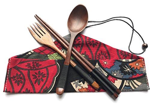 Japanese Natural Travel Utensils Wooden Tableware - Reusable Chopsticks Forks Spoons Knives Set - Wood Flatware 4 Piece Set in Beautiful Black (Wooden Tableware ()