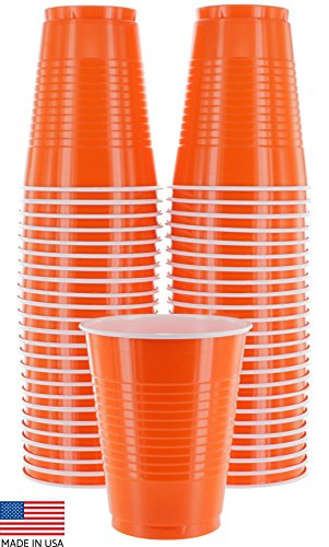 Amcrate Orange Colored 16-Ounce Disposable Plastic Party Cups - Ideal for Weddings, Party's, Birthdays, Dinners, Lunch's. (Pack of 50) -