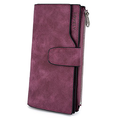 UTO RFID Wallet for Women PU Matte Leather Card Holder Coin Purse Purple