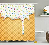 ice cream accent - Ambesonne Food Shower Curtain, Cartoon Like Image of and Melting Ice Cream Cones Colored Sprinkles Artistic Print, Fabric Bathroom Decor Set with Hooks, 70 Inches, Multicolor