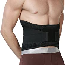 Adjustable Deluxe Double Pull Lumbar Brace / Lower Back Belt, Pain Relief, Breathable Material - WIDE Back Support - Black Color - Size S
