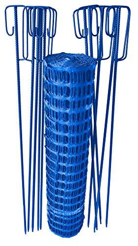 51IK UedYpL UvV Set Fangzaun blau 50 m + 10 Absperrleinenhalter, Absperrnetz, Maschenzaun, Bauzaun Rolle Kunststoff Extra Reissfest…