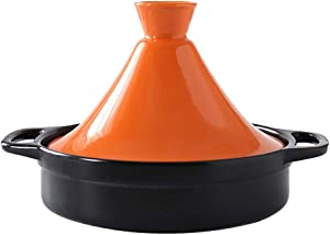 WJXBoos Ceramic Casserole Steamer Braiser Pan Healthy Saucepan Earthen Pot for Braising Slow Cooking,Moroccan Tagine Pot with Lid Orange 1.3quart