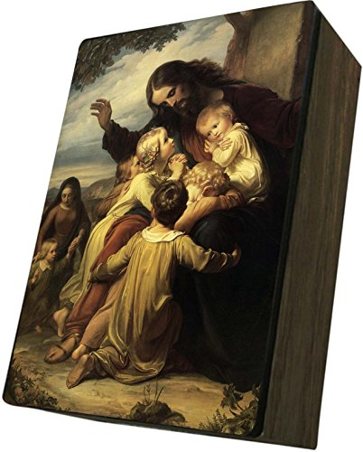 Catholic to the Max|Jesus with Children Cover, 4x6.5x2.5 Wooden Keepsake Rosary Jewelry Box, Suede Matte by Catholic to the Max