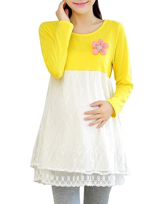 Mujer Vestido De Embarazo De Encaje Vestidos Premama Amarillo M