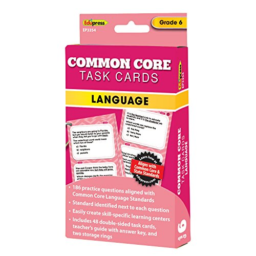 Edupress Common Core Task Cards, Language, Grade 6 (EP63354)