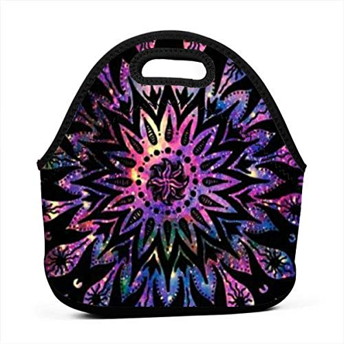 Mysterious Printing Neoprene Lunch Bag Tote Reusable Insulated Waterproof School Picnic Carrying Lunchbox Container Organizer For Women, Men, Adults, Kids, Girls, Boys