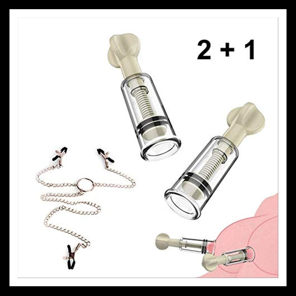 2 potentes botellas y cadena de metal con 3 clips