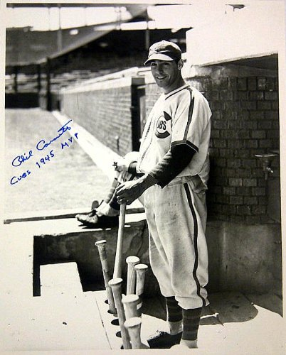 - Chicago Cubs 1945 MVP Phil Cavarretta Autographed/Signed 8x10 Black & White Photo with Special Inscription