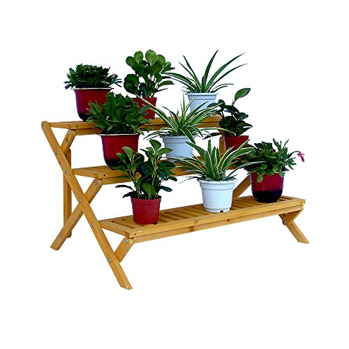 3 Tier Wooden Step Planter Stand