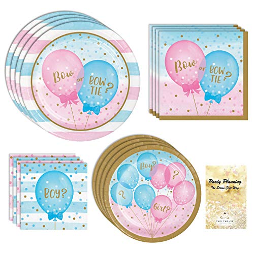 Gender Reveal Party Supplies, Bow or Bow Tie, Boy? Girl?, 16 Guests, 65 Pieces, Disposable Paper Dinnerware, Plate and Napkin Set]()