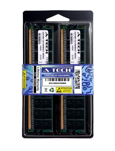 A-Tech 4GB Kit 2X 2GB ECC Registered DDR2 PC2-3200 400Mhz for Hewlett Packard Compaq HP Proliant DL360 G4p DL380 G4 DL580 G3 G4 ML350 G4p ML370 ML570 Workstation xw6200 xw8200 1.8V 240 Pin Ram Memory