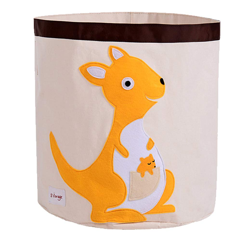 Exttlliy Cartoon Animal Storage Bins,Folding Cylindrical Waterproof Cloth Kids Toy Storage Basket/Laundry Basket,Toy Organizer/Snacks Storage Basket (Kangaroo)