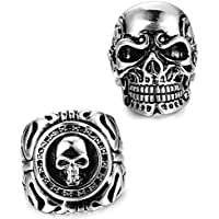 FUNRUN JEWELRY 2 PCS Stainless Steel Ring for Men Teens Skull Biker Ring