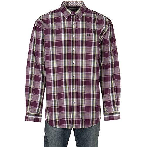 (Cinch Men's Classic Fit Long Sleeve Button One Open Pocket Plaid Shirt, JR Purple S)