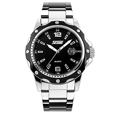 Mens Stainless Steel Band Analog Quartz Unique Business Casual Waterproof Dress Wrist Watch, Classic Design Calendar Date Window - Black