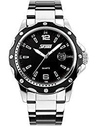 Mens Stainless Steel Band Analog Quartz Unique Business Casual Waterproof Dress Wrist Watch, Classic Design Calendar...