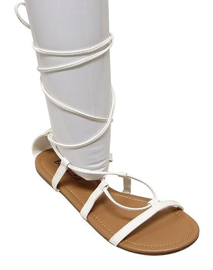 f8bb9710475 Amazon.com  Bonnibel Daria-1 Women s Open Toe Flat Gilly tie wrap PU  Sandals White 6  Clothing