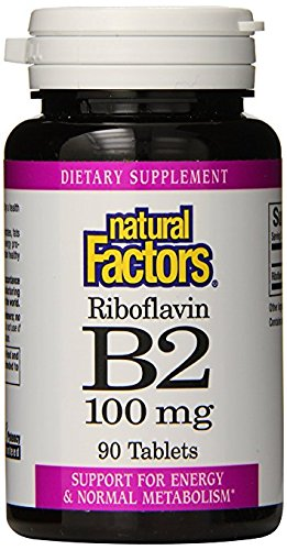 Natural Factors – Vitamin B2 Riboflavin 100mg, Support for Energy & Normal Metabolism, 90 Tablets