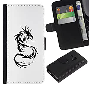 Billetera de Cuero Caso Titular de la tarjeta Carcasa Funda para Samsung Galaxy S3 MINI NOT REGULAR! I8190 I8190N / Dragon Tattoo Black White Art / STRONG