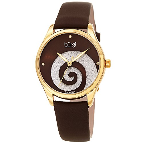 Burgi Women's Watch with Diamond Markers - Sunray Dial with Sparkling Crystal Powder Swirl - Brown Satin Over Genuine Leather Skinny Strap - BUR201BR