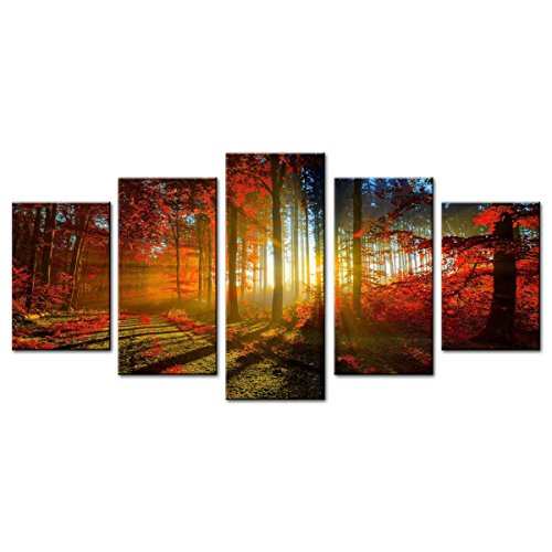Moco Art 5 Panels Canvas Wall Art Paintings Autumn Beautiful Maple Trees Picture Prints On Canvas Landscape Artwork For Home Decor Framed Ready to Hang (30x45cmx2pcs 30x60cmx2pcs 30x75cmx1pcs) by MOCO ART